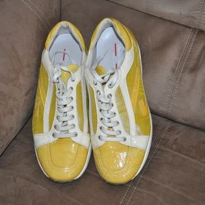 Alberto Guardiani Yellow Patent Leather Sneakers